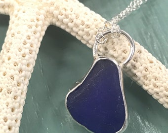 Sterling Silver Blue Seaglass Necklace Pendant