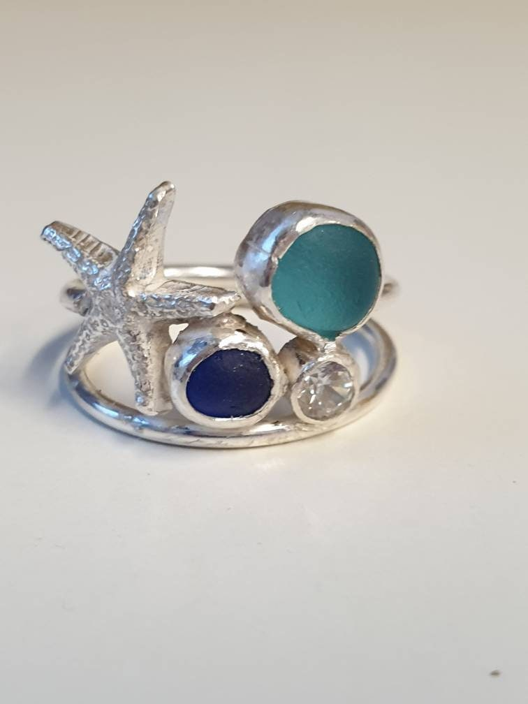 Seaglass,statement,multistone,sterling,silver,ring,,blue,seaglass,,starfish,sea,inspired,ring,Jewelry,Ring,sterling_silver_ring,seaglass_silver_ring,starfish_seaglass,blue_seaglass_ring,turquoise_seaglass,seaglass_jewellery,sea_inspired,beach,beach_jewellery,jewellery_gift,handmade,blue_glass_jewellery,Silver,Glass,Cubic zirconia
