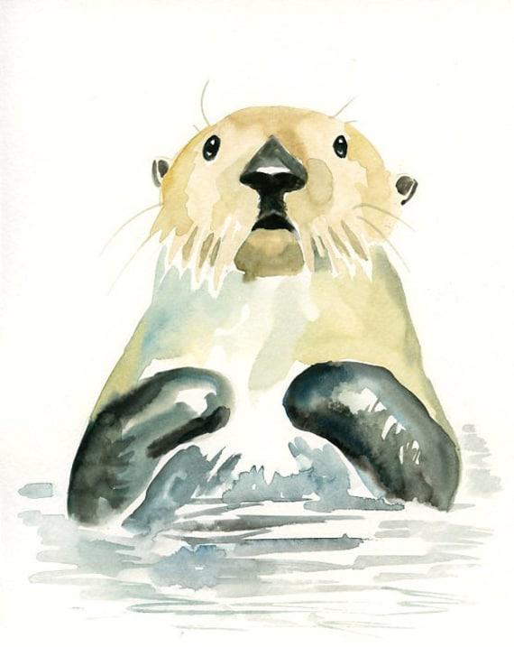 NUTRIA de mar 5 x 7 impresión-lámina-animal Print | Etsy