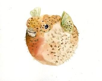 PUFFERFISH, Sea art, animal art, animal Watercolor Print, Nursery wall art, 10x8inch size