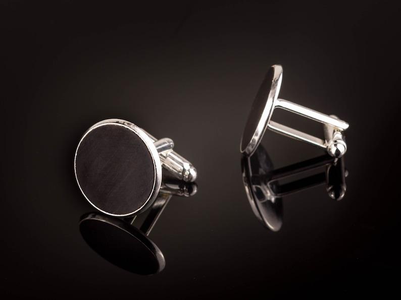 Manschettenkn\u00f6pfe mit Ebenholz Holz Cufflinks Silber