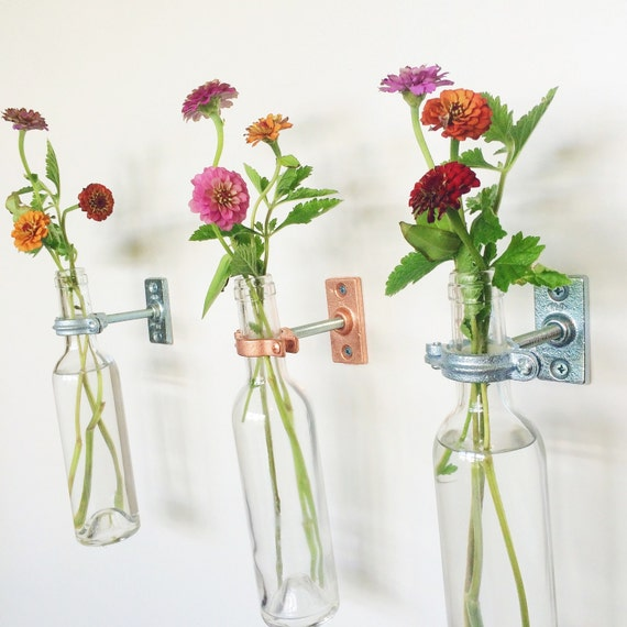 4 Wine Bottle Wall Flower Vases -  copper or silver - Spring Flowers - Wall Sconce - Spring Wall Decor -Spring Decor - Wine bottle Decor