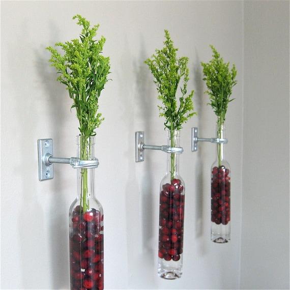 3 wine bottle wall flower vases wall vase wall decor christmas decor