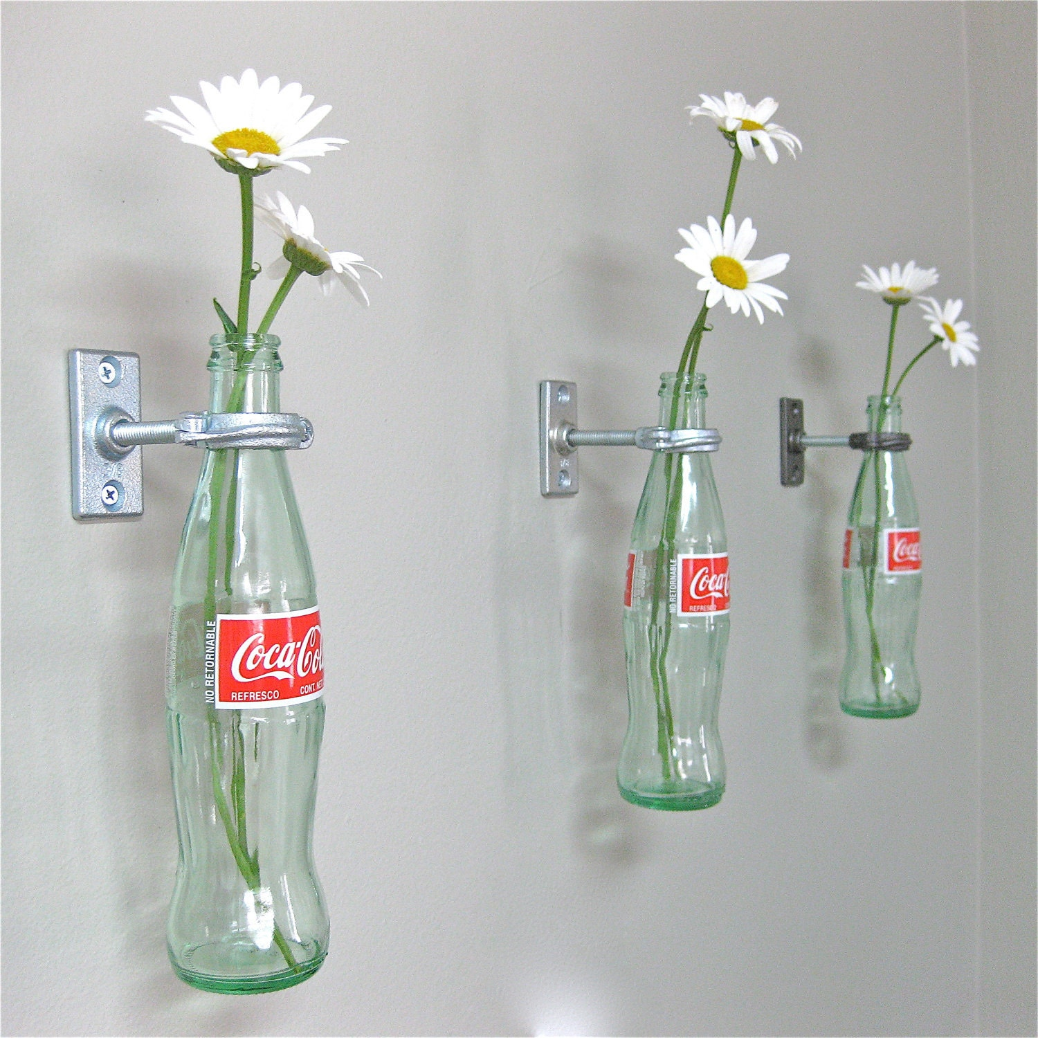 2 Coca-Cola Bottle Hanging Flower Vases -Mother's Day Gift - on leaning flower vase, chandelier flower vase, window flower vase, outdoor flower vase, halloween flower vase, love flower vase, hand flower vase, accessories flower vase, painting flower vase, rope flower vase, table flower vase, falling flower vase, hall flower vase, water flower vase, wall flower vase, short flower vase, personalized flower vase, product flower vase, decor flower vase, beach flower vase,