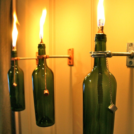 3 Wine Bottle Oil Lamps - INDOOR - Gift for Her - Hanging Lantern - Wall Lamp - Light Sconce - Modern Lighting