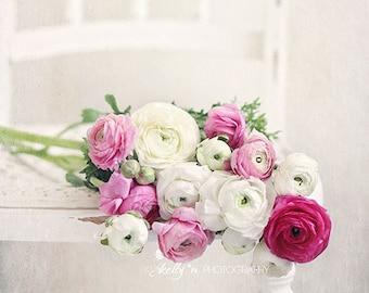 Ranunculus Photography- Floral Still Life Photo, Pink White Decor, Ranunculus Floral Art, Shabby Decor, Feminine Decor, Farmhouse Decor