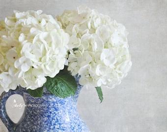 New! Floral Still Life Photo- Hydrangea Photograph, Floral Wall Art, White Hydrangea, Shabby Chic Art, Country Farmhouse Decor, Floral Decor