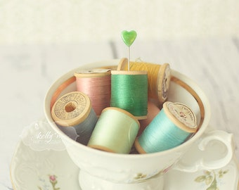Still Life Photograph- Cup of Thread Print, Sewing Photograph, Vintage Thread Spools, Sewing Room Decor, Shabby Decor, Green Teal Pink Print