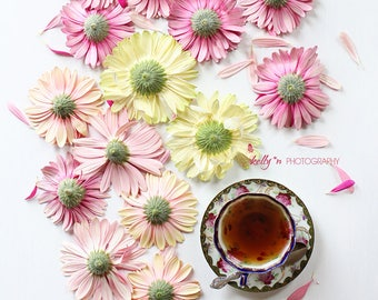 New! Still Life Photography- Tea and Flowers Photo, Gerbera Daisies, Teacup Photo, Floral Art, Kitchen Decor, Cafe Decor, Tearoom Decor,