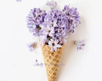 Flower Still Life- Purple Hyacinth Photography, Whimsical Flower Art, Flower Ice Cream Cone Print, Kitchen Decor, Hyacinth Flower Cone Photo
