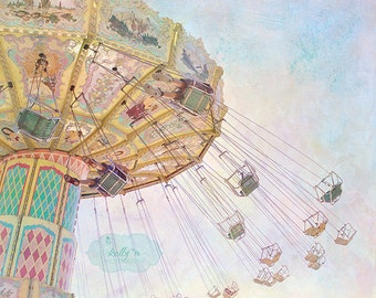 Summer Swings- Fair Photography, Carnival Ride Photo, Childrens Decor, Nursery Decor, Fair Swings, Pastel Colors, Whimsical Print, Kids Room