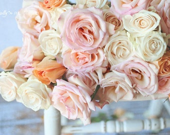 Rose Photography- Floral Still Life Photo, Pink Coral White Roses, Floral Wall Art, Feminine Decor, Cottage Decor, Nursery Decor