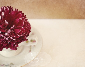 Floral Still Life Photo- Red Mum Photograph, Vintage Teacup, Maroon Tan White, Flower Photography, Kitchen Decor, Floral Wall Art, Deep Red