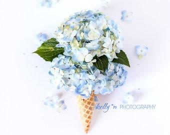 Floral Still Life- Blue Hydrangea Photograph, Whimsical Flower Art, Flower Ice Cream Cone Print, Kitchen Decor, Hydrangea Flower Cone Photo