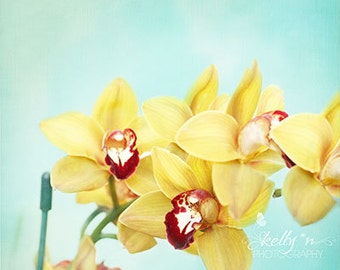 Yellow Orchids- Orchid Photography, Flower Photography, Colorful Floral Art, Yellow Teal Art, Orchid Flower Print, Fine Art Print