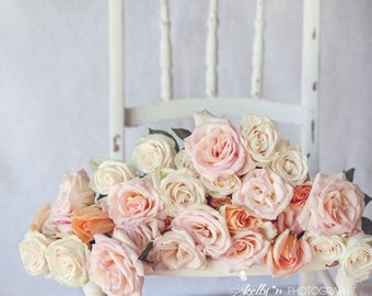 Rose Photography- Floral Still Life Print, Pink White Coral Roses, Floral Wall Art, Cottage Decor, Feminine Decor, Romantic Art