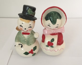 Vintage Christmas Snowmen Salt and Pepper Shakers, Made in Japan in the 1950's