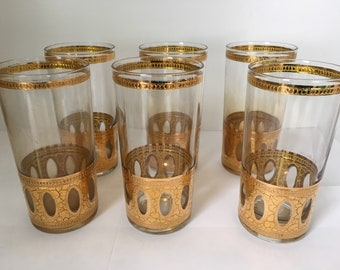 Vintage Signed Culver Highball Glasses  Antigua Pattern From The 1960s