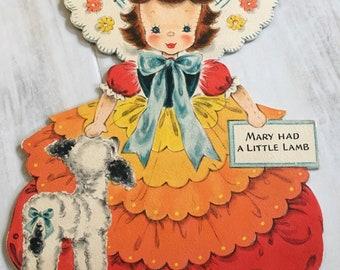 Vintage Mary Had A Little Lamb Hallmark Doll Card  Doll No. 4