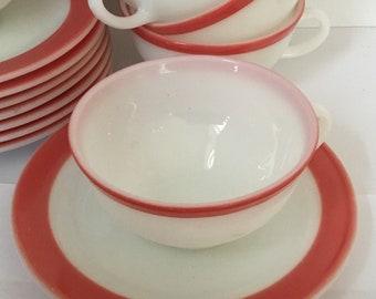 Vintage Pink Flamingo Pyrex Coffee/Tea Cups With Saucers Circa 1953,  Set of 8