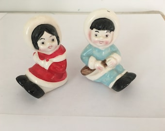 Vintage Eskimo Children Salt and Pepper Shakers Made in Japan in the 1950s