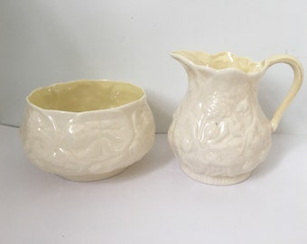 Vintage Belleek Open Sugar Bowl and Creamer Set , Lotus Pattern , Made in Ireland