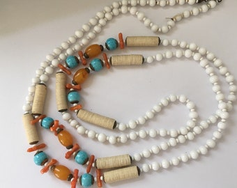 Signed Miriam Haskell Beaded Necklace in White, Orange and Turquoise