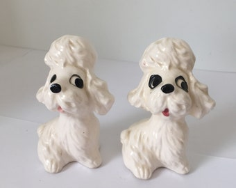 Vintage White Poodle Salt and Pepper Shakers Made in Japan in the 1950s