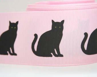 Black Cat Print Extra Wide 1.5in Pink Grosgrain Ribbon - 1 yd
