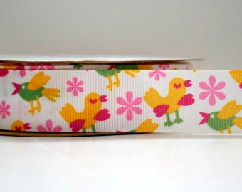 Little Birdie Print 7/8in Grosgrain Ribbon - 1yd