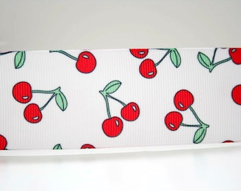 Cherry Print Extra Wide 1.5in Grosgrain Ribbon - 1yd