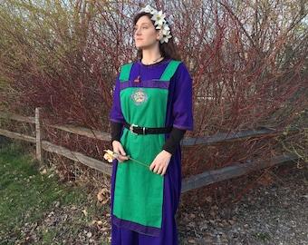 Viking Apron Dress - Ostara - Kelly Green Linen - Viking Dress - Linen Viking Apron - Womens Apron Dress - Viking Garb - Viking Clothing