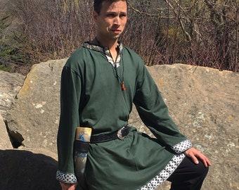 Viking Tunic - Long sleeve - Keyhole Neckline -  Viking Clothing - Viking Costume - Your Choice Size, Color, & Trim - Made to Order