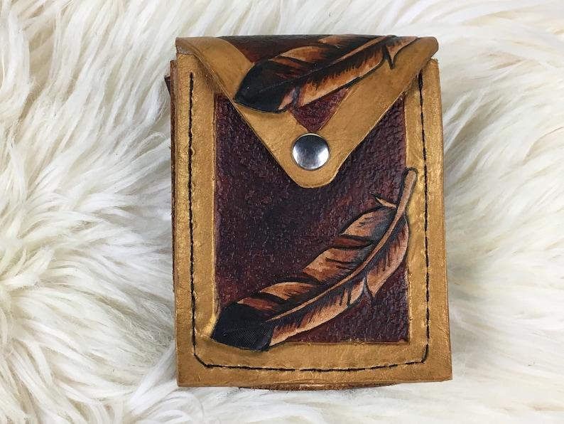 Belt Bag Leather Hip Bag Small Leather Belt Pouch Brown /& Gold Feathers Feather Belt Pouch Made to Order Hip Bag