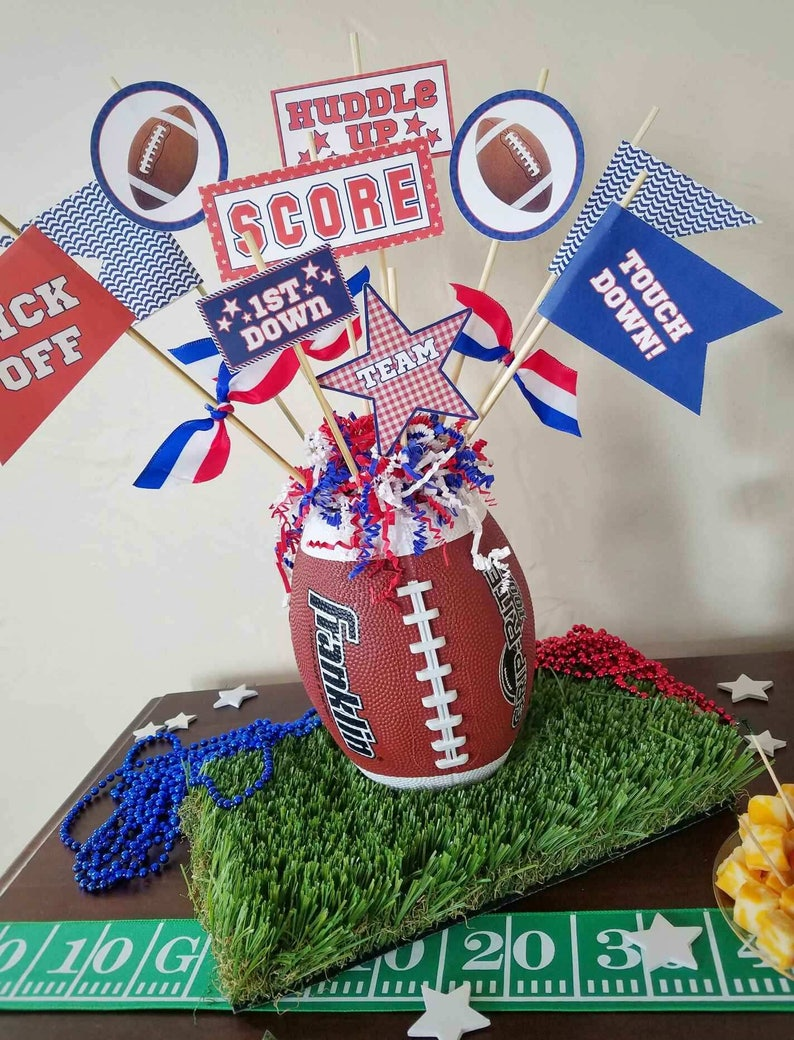 Coaches Gifts DIY Football Pennant Printables Birthday Decor Football Birthdays Red and Blue Automatic Download