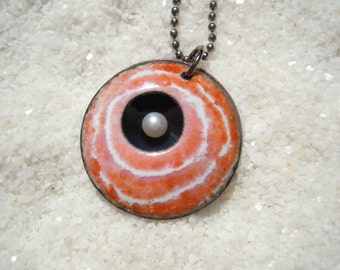 Pink, White and Pearl Pendant Artisan Jewelry
