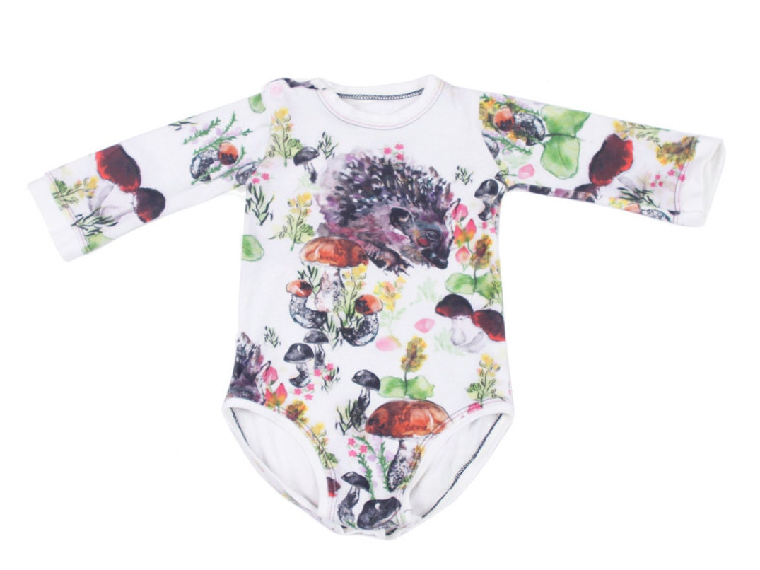 9a4ef3931a82 Newborn Clothes Hedgehog Print Organic Baby Clothes Gift