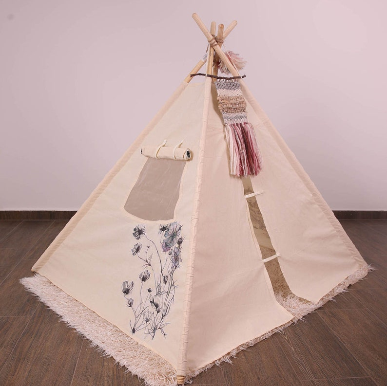 Original Unique Illustrated Canvas Teepee Children Play Tent Tipi Handmade Unbleached Organic Kids Teepee Tent Organic Toy Wigwam