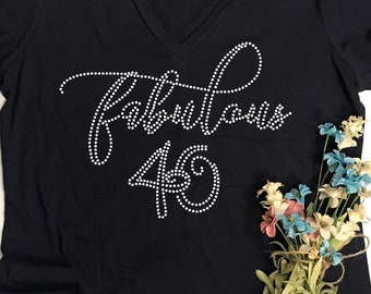 6768acca Custom Rhinestone BLiNg Fabulous 40 Shirt | 40th Birthday Shirts | Women's  40th Birthday TShirts | Fabulous 40 T Shirts