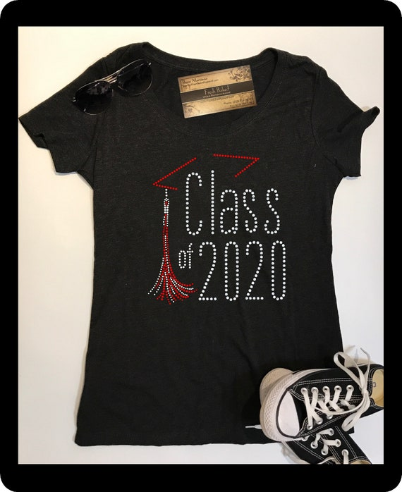 BLing Graduate Class of 2020 Shirts | Ladies Graduation TShirts | Bedazzled Women's 2020 Graduating Tee Shirts
