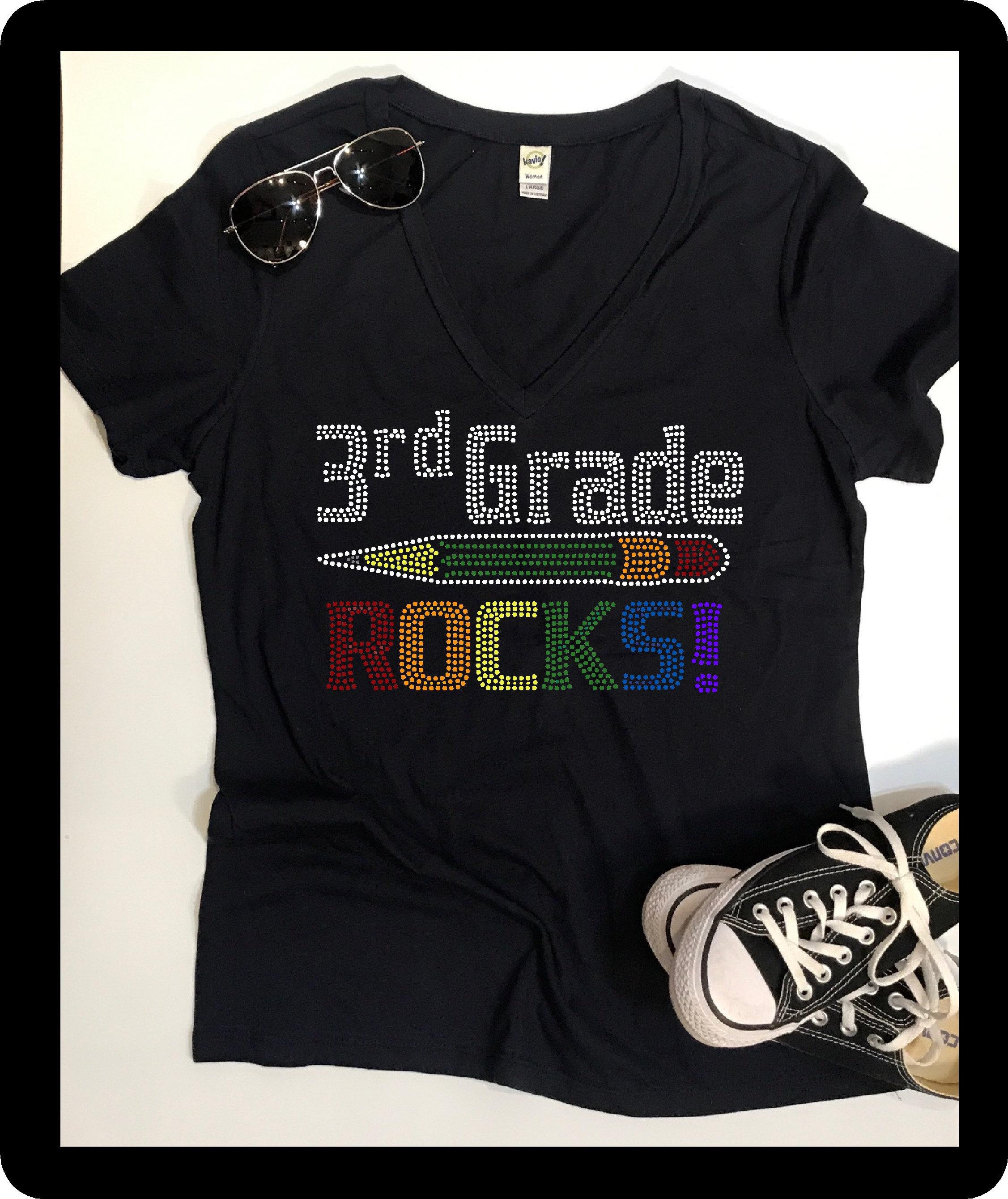 Bling 3rd Grade Rocks Shirt Teacher Shirts Teacher Gifts