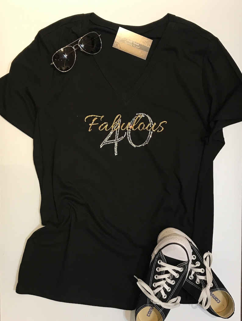 Custom Rhinestone BLiNg Fabulous 40 Shirt 40th Birthday