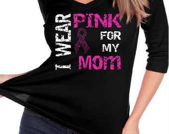 "Breast Cancer Ribbon "" I wear Pink for "" Customized Name Custom BLiNg Shirt"