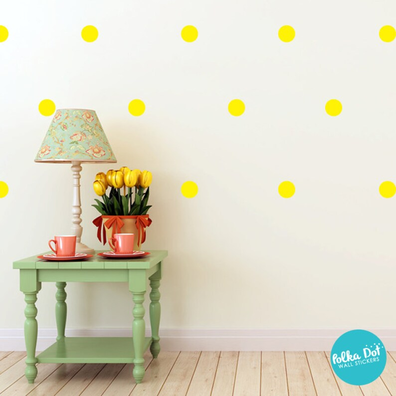 0066b4e18aa Peel and Stick Bright Yellow Polka Dot Wall Decals Long Life | Etsy