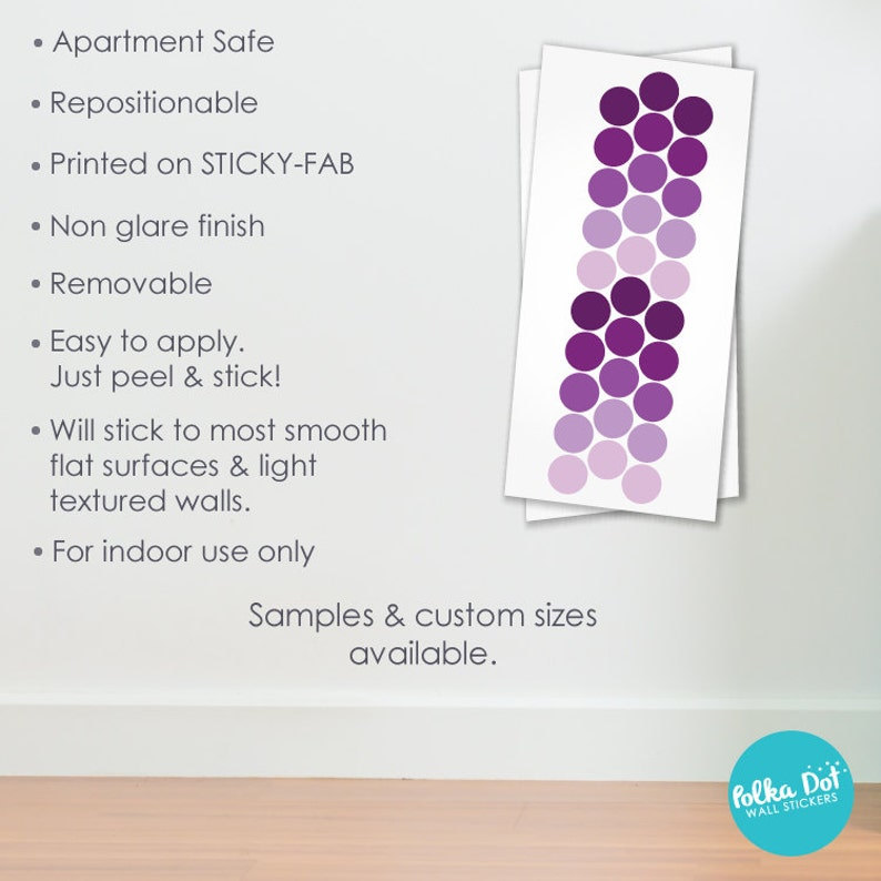 CONF002 Apartment Safe Long Life Shades of Purple Polka Dot Wall Decals