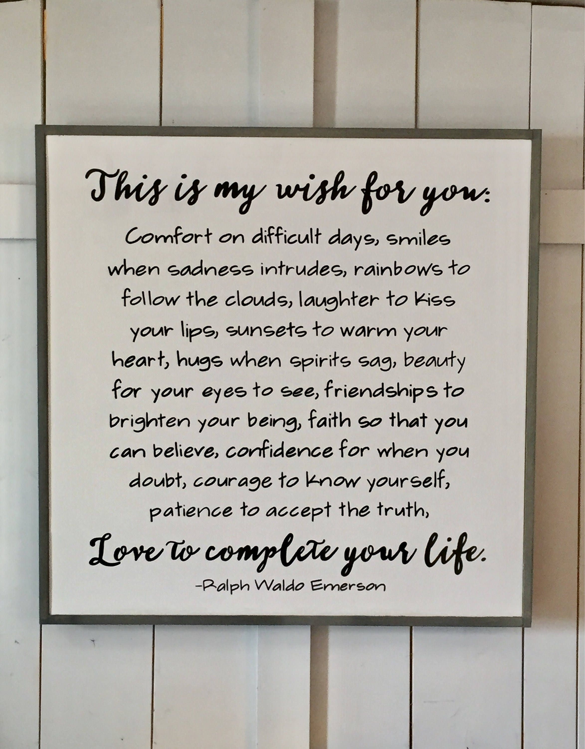 This Is My Wish For You Sign Emerson Quote Wall Art Inspirational
