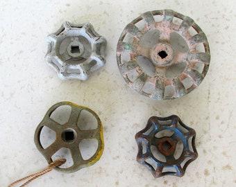 4 Vintage Faucet Handles Garden Water Valve Industrial Spigot Hardware