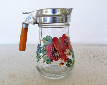 Small Cream or Syrup Pitcher Bakelite Handle Glass with Floral Design