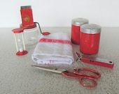 Red Vintage Kitchenwares Collection Kitchen Tools Retro Salt and Pepper Linen Towel Chopper Scissors Timer Bottle Opener Mid Century