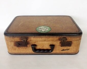 Small 1930s Tweed Suitcase Leather Vintage Envoy Overnight Green Satin Interior